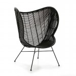 Designer-Sessel 83X85X113 Metall/Wicker Schwarz