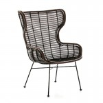 Armchair 73X67X101 Metal Black Wicker Brown