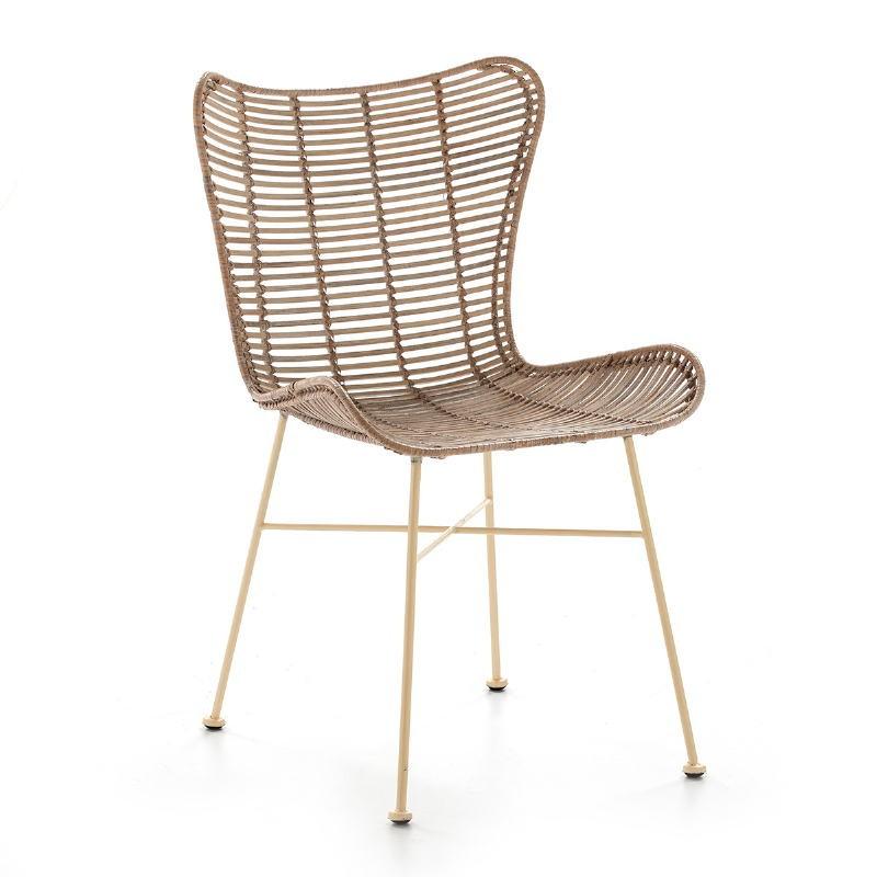 Chaise 56x51x85 Métal Osier Blanc blanchi