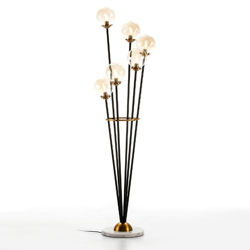 Standard Lamp 50X50X175 Marble White Glass Metal Golden Black - image 50669