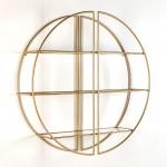 Shelf 100X23X100 Glass Metal Golden