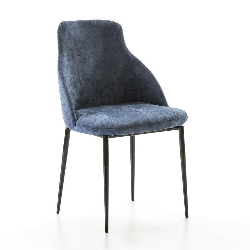 Chaise 52x55x87 Métal Noir tissu Bleu