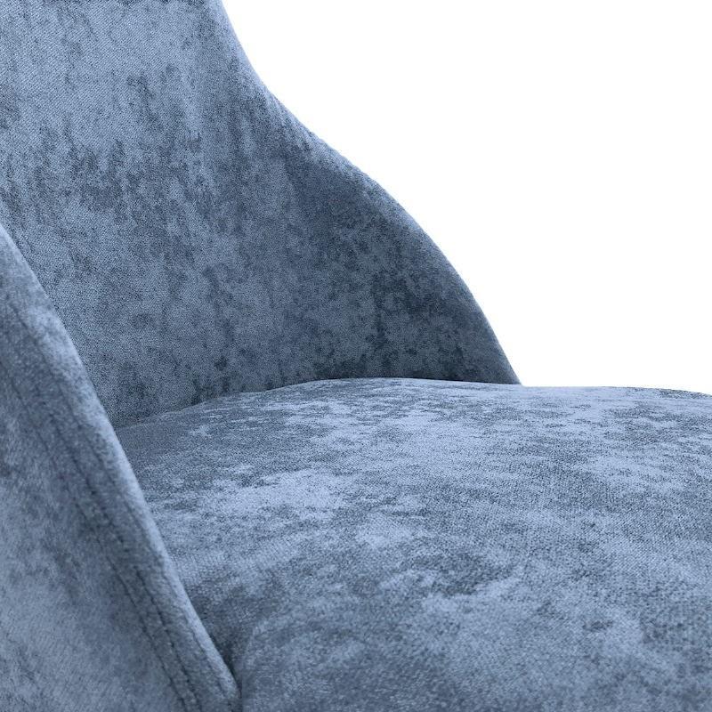 Chaise 52x55x87 Métal Noir tissu Bleu - image 50709