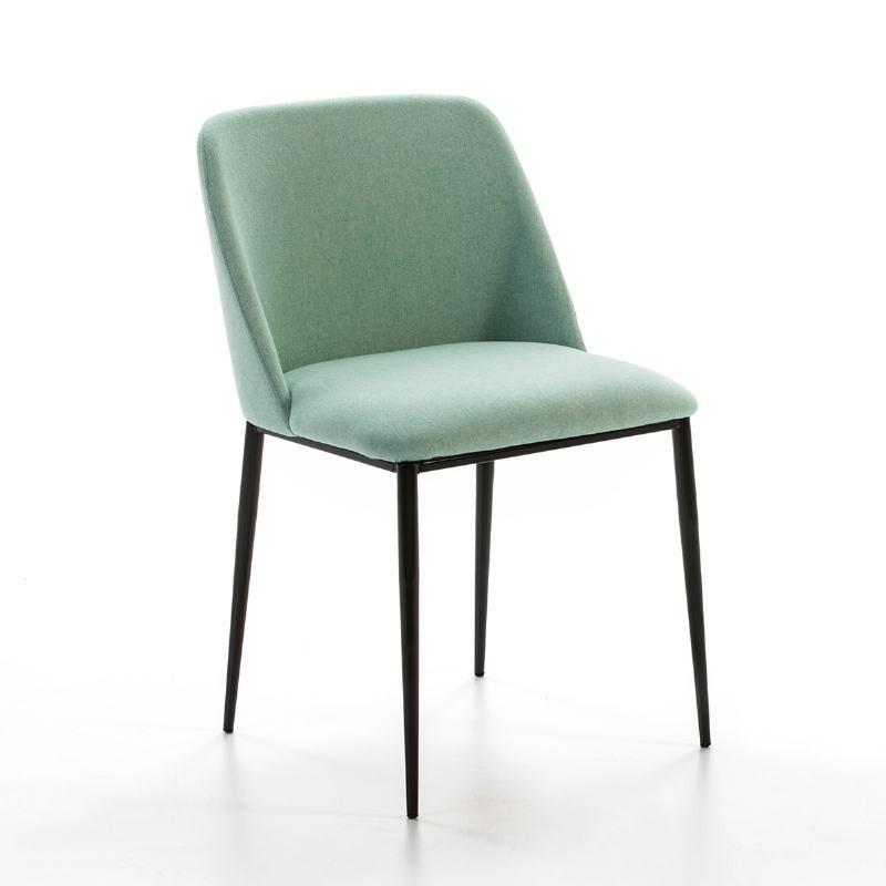 Chaise 56x52x77 Métal Noir tissu Vert - image 50718