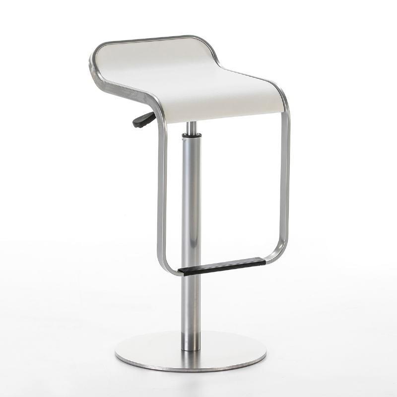 Hocker 36X41X75/85 Stahl/P. Leder Weiß