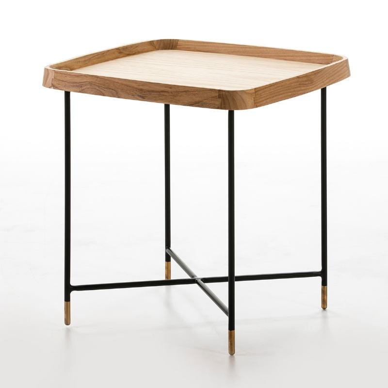 Table d'appoint, bout de canapé, bout de canapé 50x50x53 Bois Métal Noir Doré - image 50738