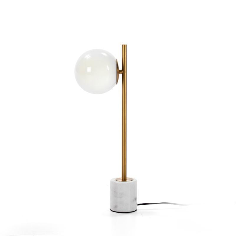 Tischlampe 21X15X55 Glas Weiß/Marmor Weiß/Metall Golden - image 50753
