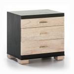 Table de chevet 3 tiroirs 55x40x55 Bois Noir Beige Rustique