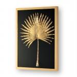 Bild 60X5X80 Glas/Holz/Metall Golden