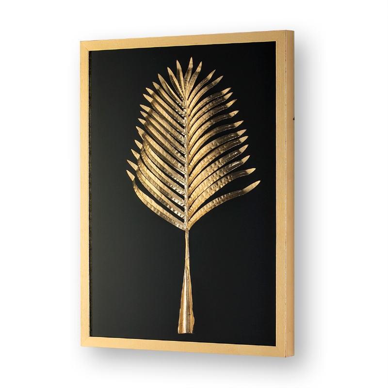 Bild 60X5X80 Glas/Holz/Metall Golden Modell 2