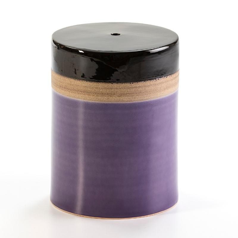 Sgabello 33X33X43 Ceramica Lilla Crema Nero - image 50859