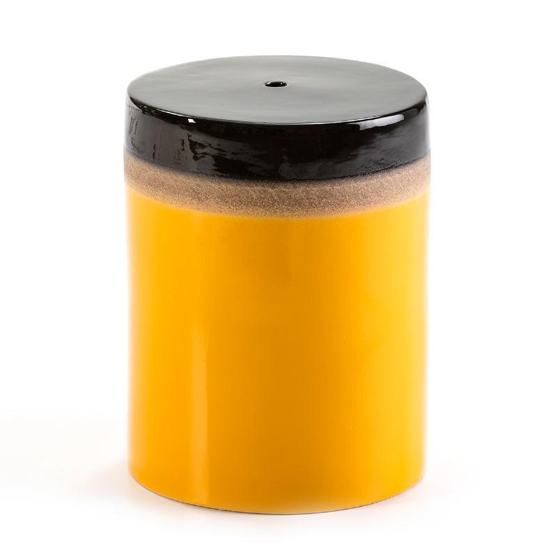 Stool 33X33X43 Ceramic Yellow Cream Black - image 50863