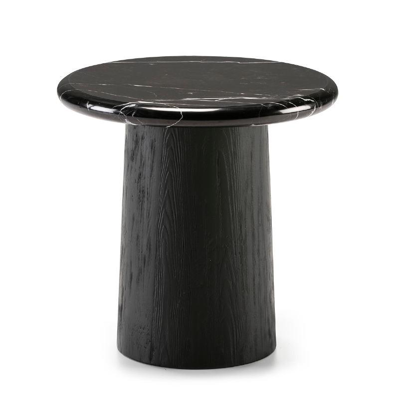 Table d'appoint, bout de canapé, bout de canapé 50x50x50 Bois Marbre Noir - image 50907