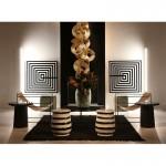 Table d'appoint, bout de canapé, bout de canapé 50x50x50 Bois Marbre Noir