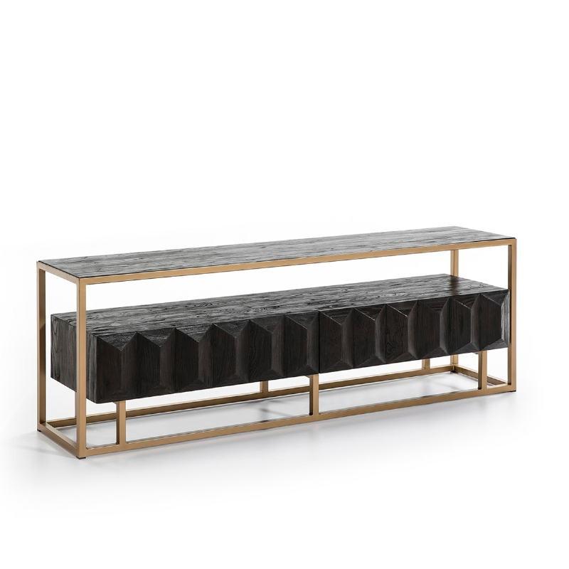 Tv Furniture 180X45X61 Wood Dark Brown Metal Golden