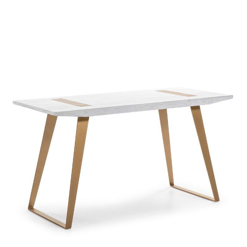 Schreibtisch 140X60X75 Holz/Metall Weiß/Golden - image 51011