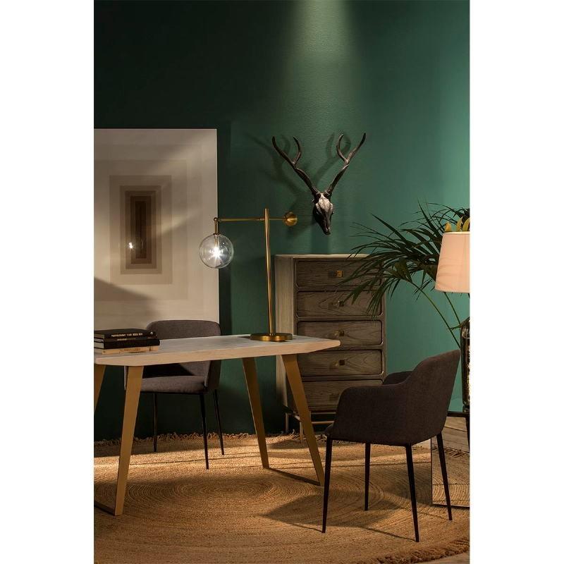 Schreibtisch 140X60X75 Holz/Metall Weiß/Golden - image 51012