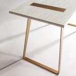 Schreibtisch 140X60X75 Holz/Metall Weiß/Golden