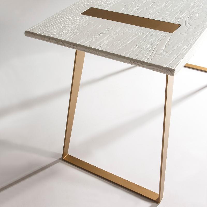 Schreibtisch 140X60X75 Holz/Metall Weiß/Golden - image 51013