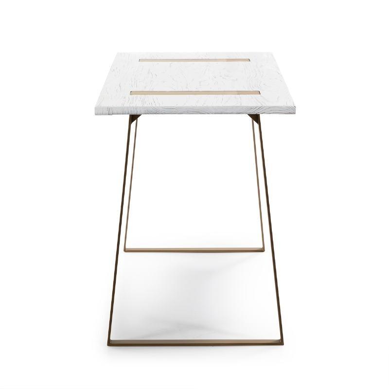Schreibtisch 140X60X75 Holz/Metall Weiß/Golden - image 51014