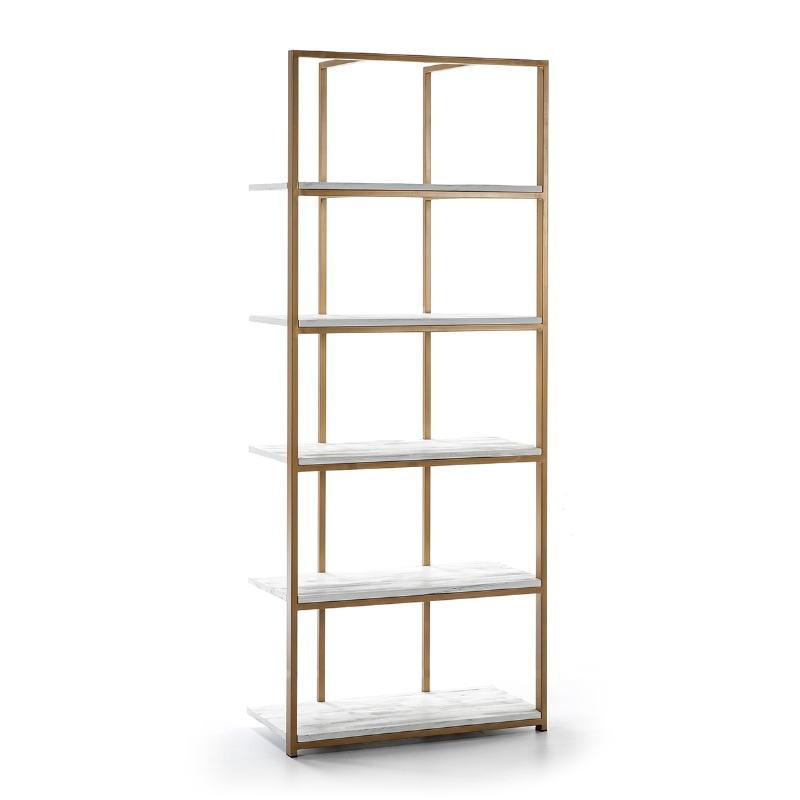 Shelf 80X38X200 Wood White Metal Golden
