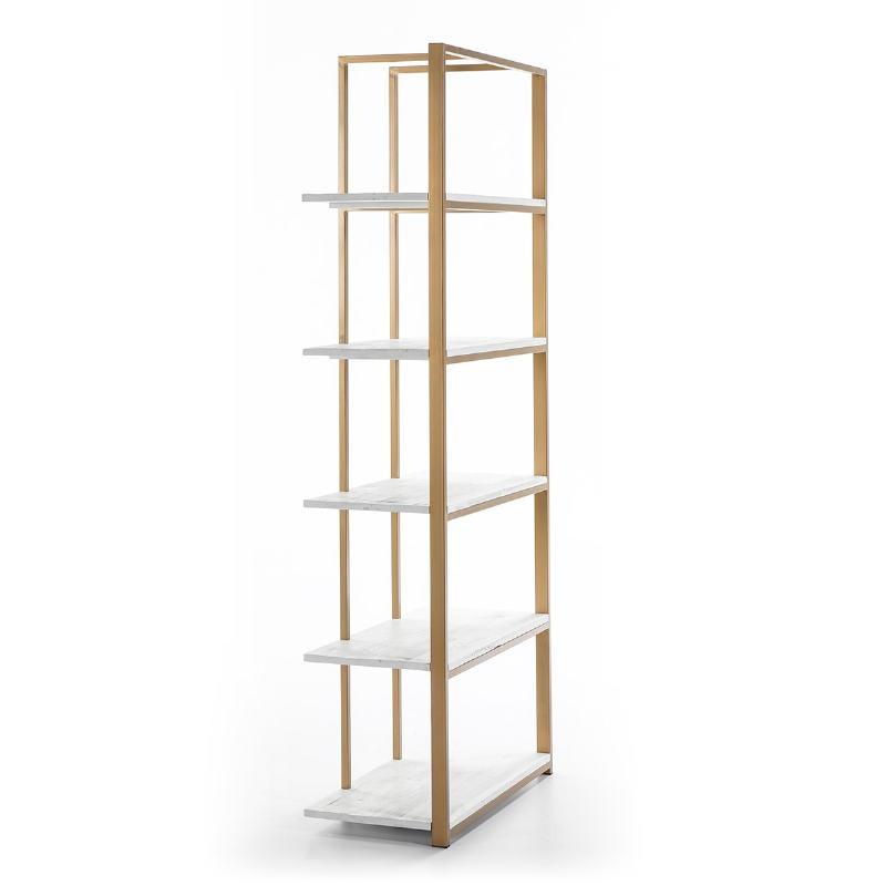 Shelf 80X38X200 Wood White Metal Golden - image 51031