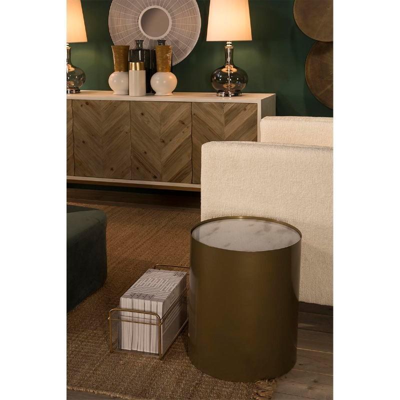 Anrichte 2 Türen 200X45X88 Holz/Metall Weiß/Natürlich/Golden - image 51105