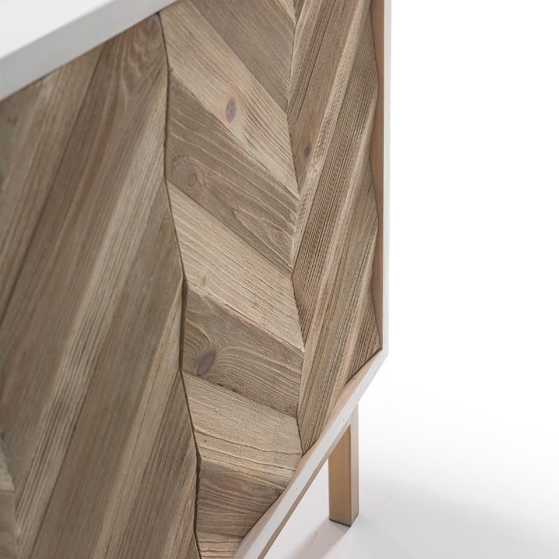 Anrichte 2 Türen 200X45X88 Holz/Metall Weiß/Natürlich/Golden - image 51108