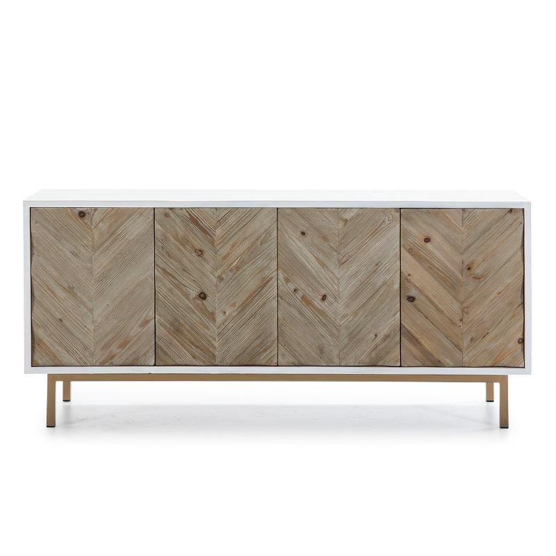Anrichte 2 Türen 200X45X88 Holz/Metall Weiß/Natürlich/Golden - image 51110
