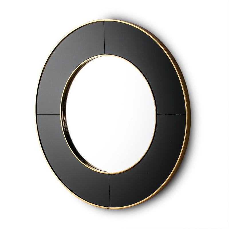 Mirror 80X3X80 Glass Black Mirror Metal Golden