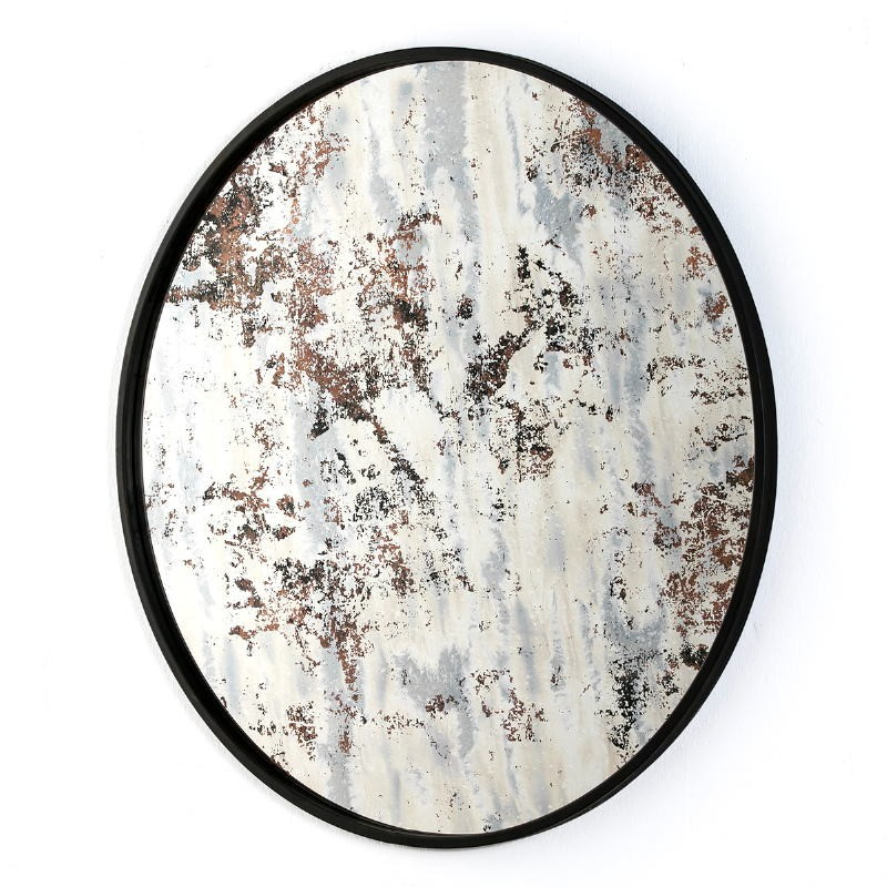 Mirror 80X3X80 Glass Aged Ocre Metal Black - image 51156