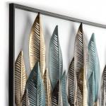 Skulptur 101X3X71 Metall Blau/Golden/Schwarz
