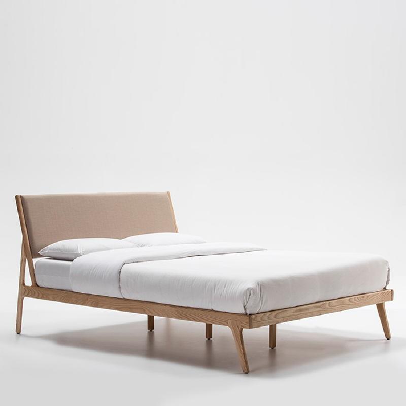 Bed 157X205X97 Ash Wood Linen Beige