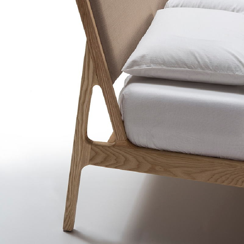 Bed 157X205X97 Ash Wood Linen Beige - image 51199