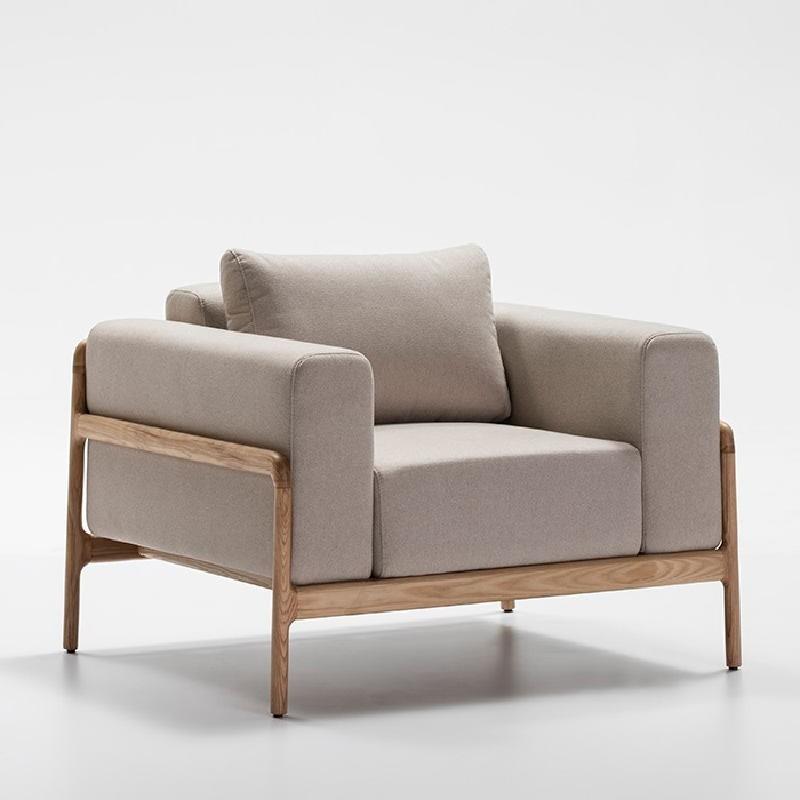 Sessel 96X87X75 Eschenholz/Stoff/Polyester Beige