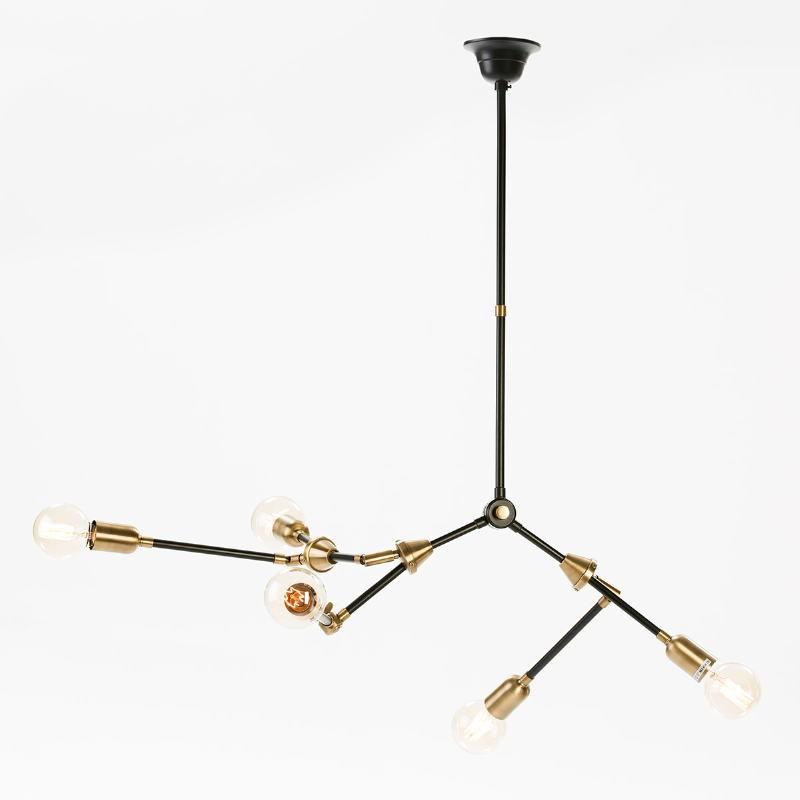 Lampe suspendue 100x6x101 Métal Doré Noir