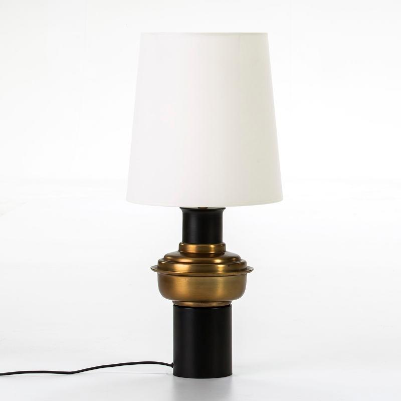 Lampe de Table sans abat-jour 20x41 Métal Noir Doré - image 51240