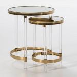 Set 2 Auxiliary Table 48X48X59   35X35X52 Acrylic Transparen Mirror Metal Golden