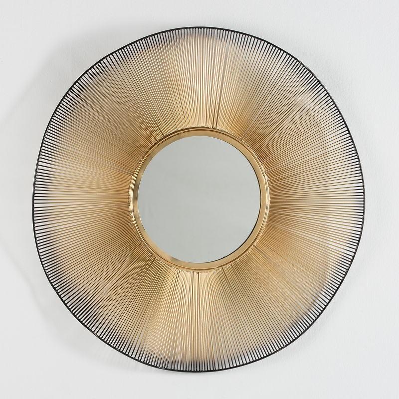 Spiegel 75X4X75 Glas/Metall Golden/Schwarz - image 51274