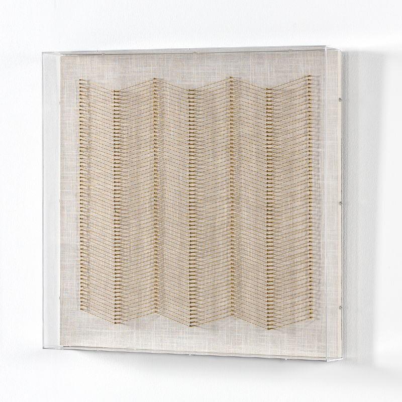 Tableau 60x8x60 Fils Doré Acrylique Transparent