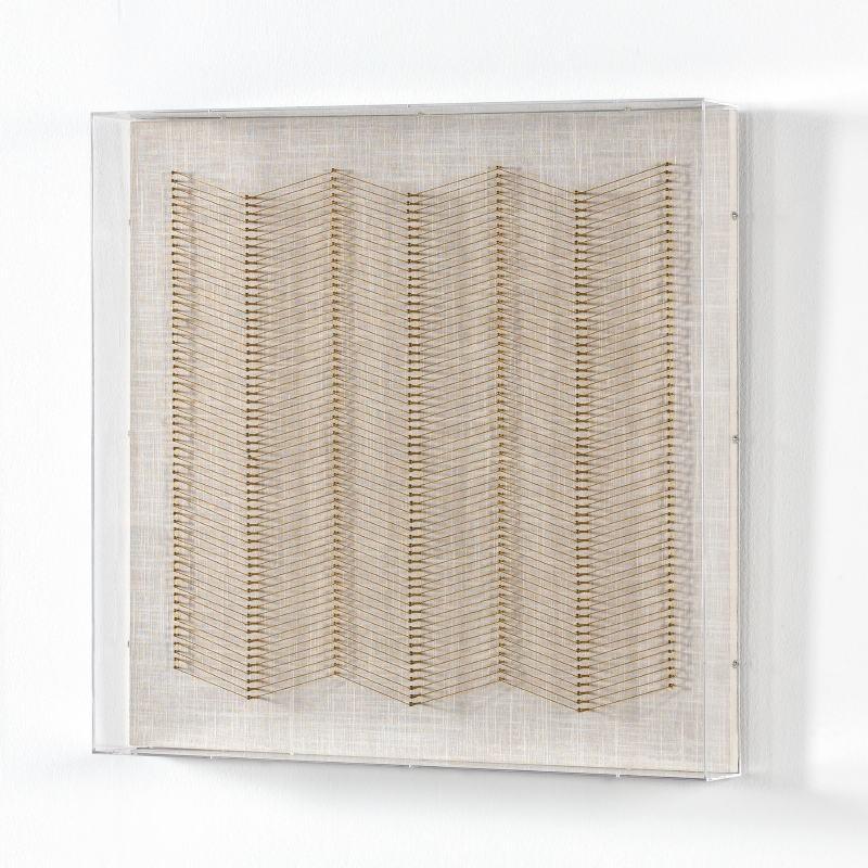 Tableau 60x8x60 Fils Doré Acrylique Transparent - image 51287