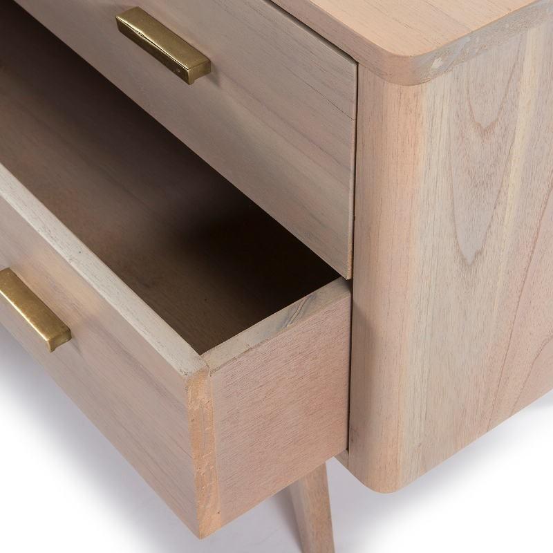 Buffet 2 portes 2 tiroirs 199x45x66 Bois Gris - image 51294