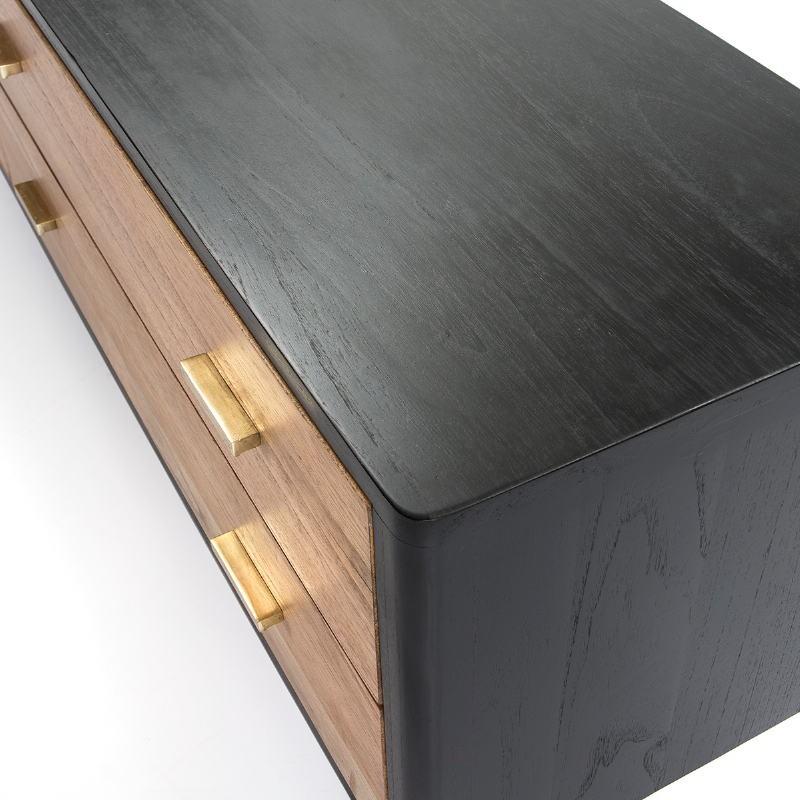 Buffet 2 portes 2 tiroirs 199x45x66 Bois Noir Naturel - image 51298
