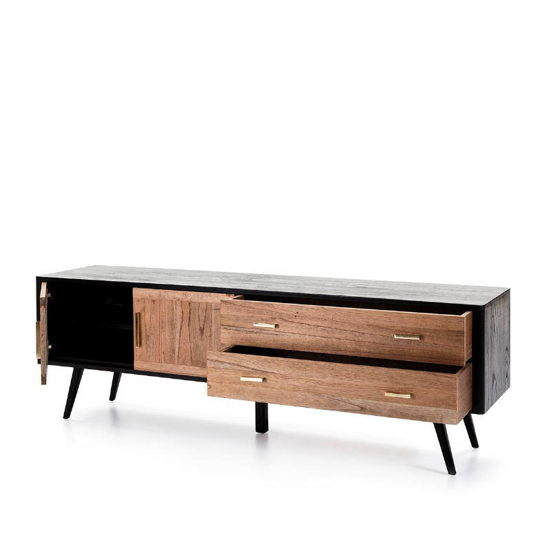 Sideboard 2 Doors 2 Drawers 199X45X66 Wood Black Natural - image 51301