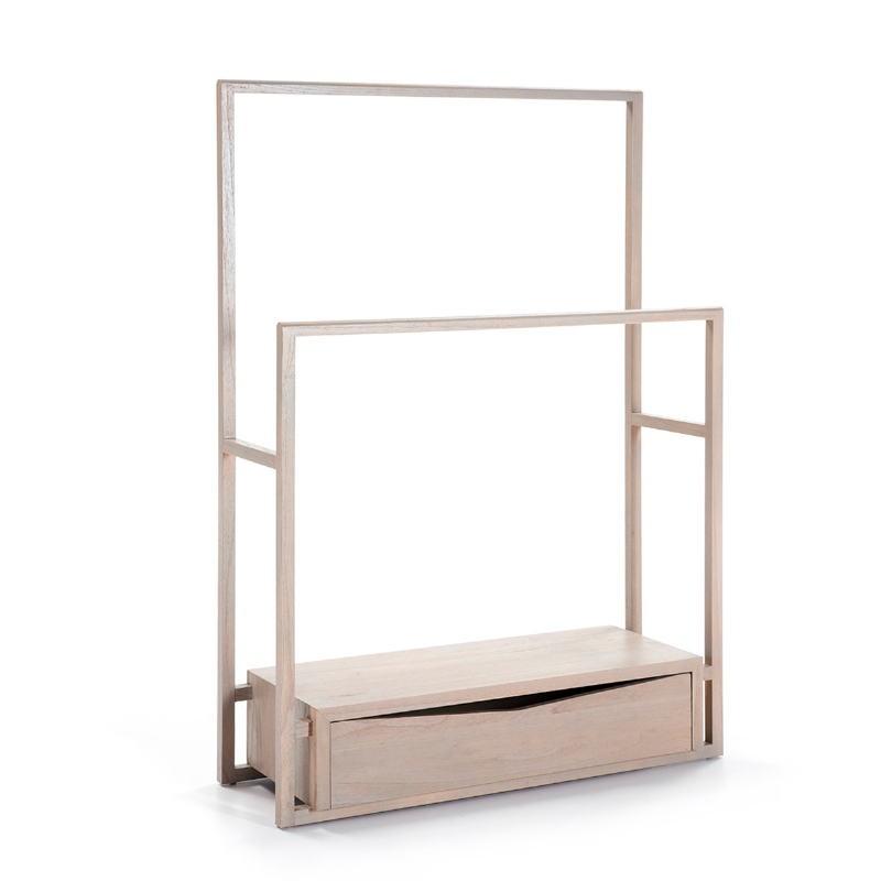 Kleiderständer / Hosenbügler 103X36X150 Holz Grau