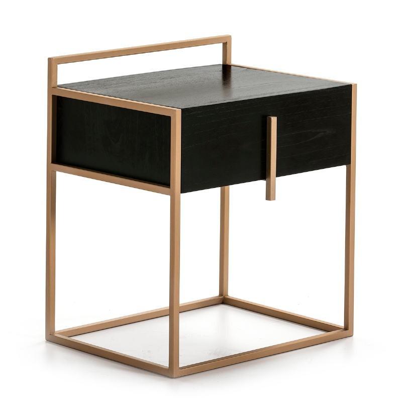 Bedside Table 1 Drawer 50X40X60 Wood Black Metal Golden