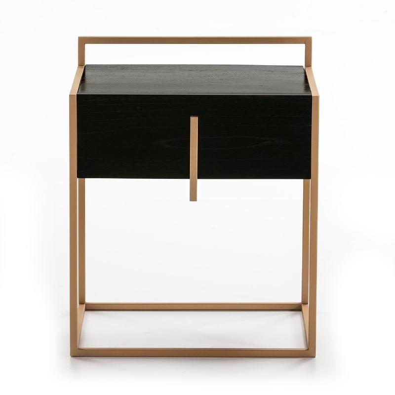 Bedside Table 1 Drawer 50X40X60 Wood Black Metal Golden - image 51326