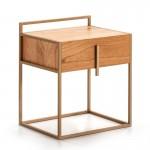 Bedside Table 1 Drawer 50X40X60 Wood Natural Metal Golden