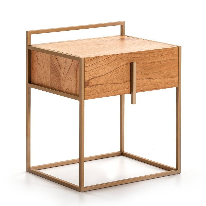 Table de chevet 1 tiroir 50x40x60 Bois Naturel Métal Doré - image 51327