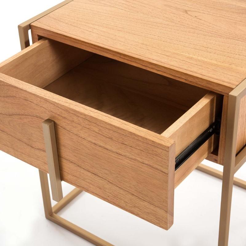 Bedside Table 1 Drawer 50X40X60 Wood Natural Metal Golden - image 51328
